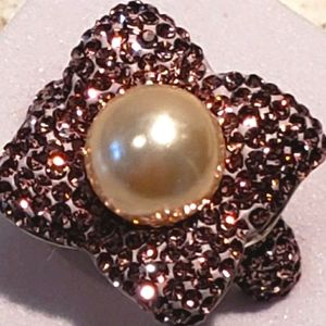 Ring,  pink cz & faux pearl. Sterling.